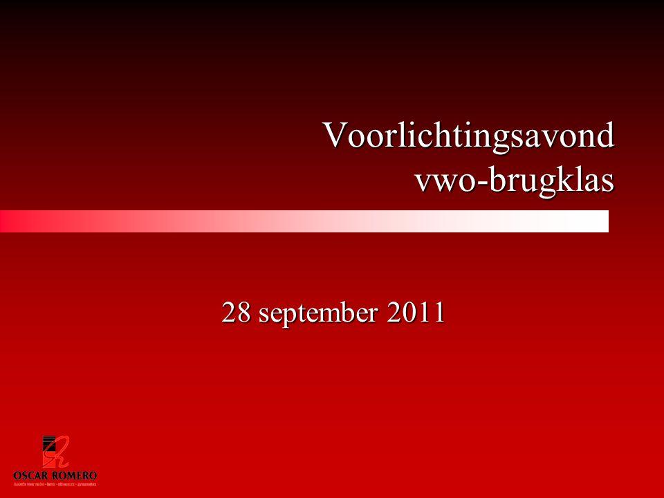 Voorlichtingsavond vwo-brugklas 28 september 2011