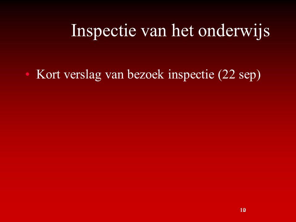 10 Inspectie van het onderwijs Kort verslag van bezoek inspectie (22 sep) 12