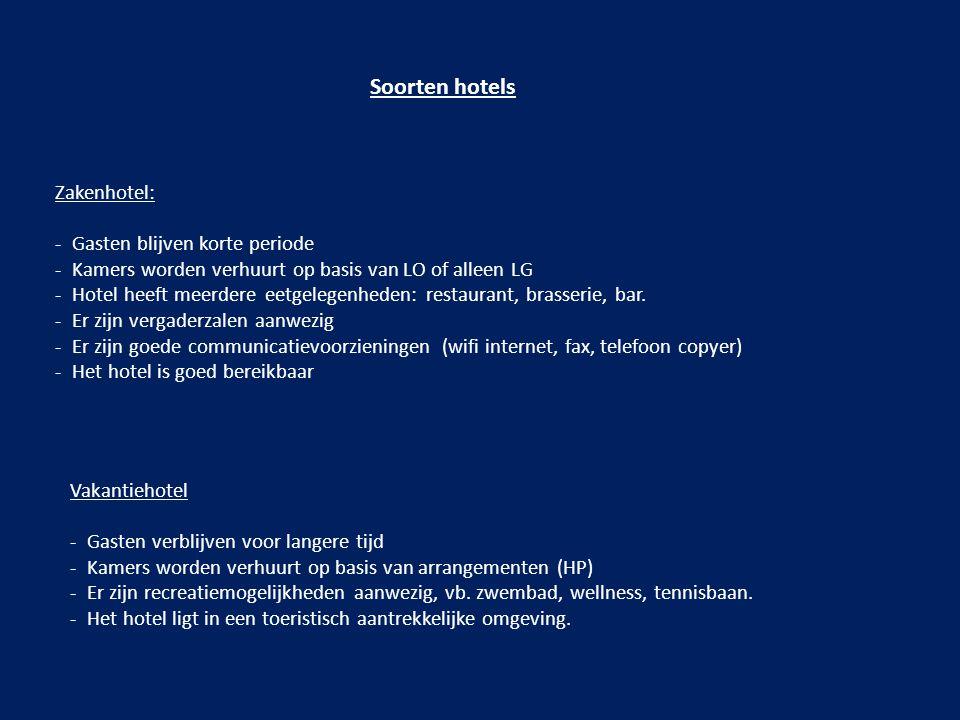 Soorten hotels Zakenhotel: - Gasten blijven korte periode - Kamers worden verhuurt op basis van LO of alleen LG - Hotel heeft meerdere eetgelegenheden