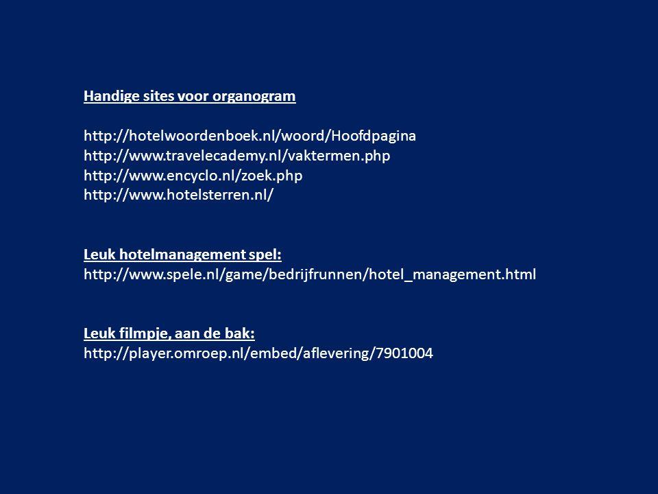 Handige sites voor organogram http://hotelwoordenboek.nl/woord/Hoofdpagina http://www.travelecademy.nl/vaktermen.php http://www.encyclo.nl/zoek.php ht