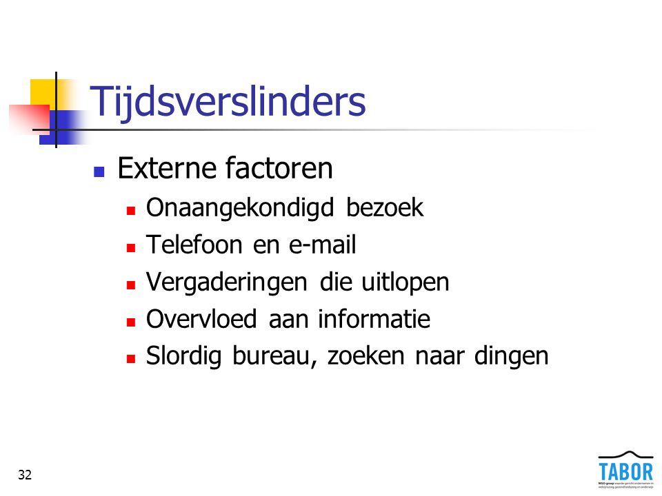 32 Tijdsverslinders Externe factoren Onaangekondigd bezoek Telefoon en e-mail Vergaderingen die uitlopen Overvloed aan informatie Slordig bureau, zoek