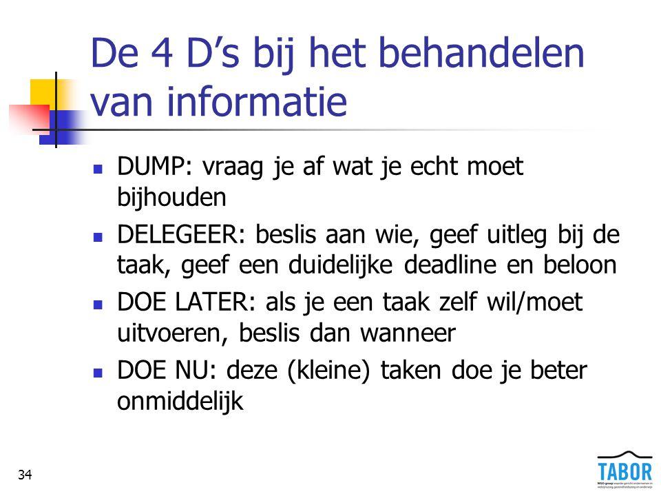 34 De 4 D's bij het behandelen van informatie DUMP: vraag je af wat je echt moet bijhouden DELEGEER: beslis aan wie, geef uitleg bij de taak, geef een