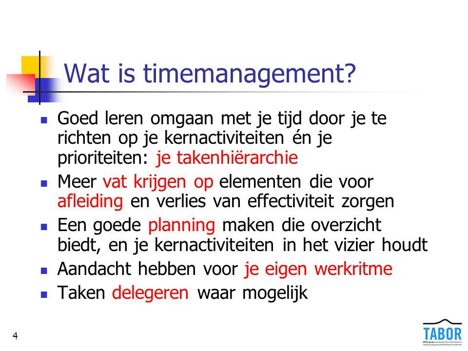 4 Wat is timemanagement? Goed leren omgaan met je tijd door je te richten op je kernactiviteiten én je prioriteiten: je takenhiërarchie Meer vat krijg