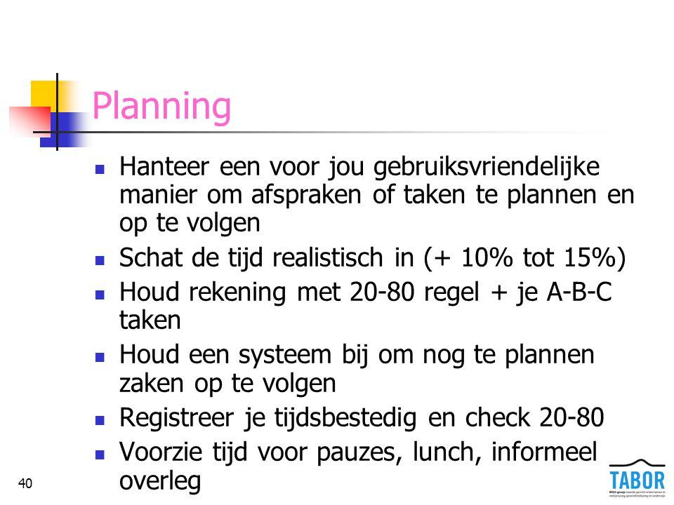 40 Planning Hanteer een voor jou gebruiksvriendelijke manier om afspraken of taken te plannen en op te volgen Schat de tijd realistisch in (+ 10% tot