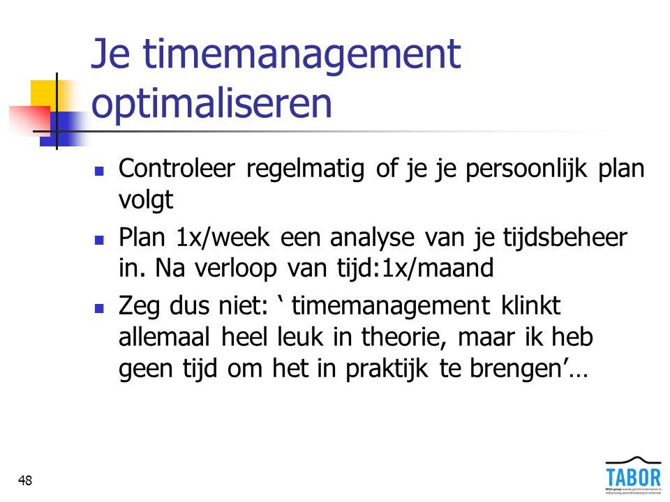 48 Je timemanagement optimaliseren Controleer regelmatig of je je persoonlijk plan volgt Plan 1x/week een analyse van je tijdsbeheer in. Na verloop va