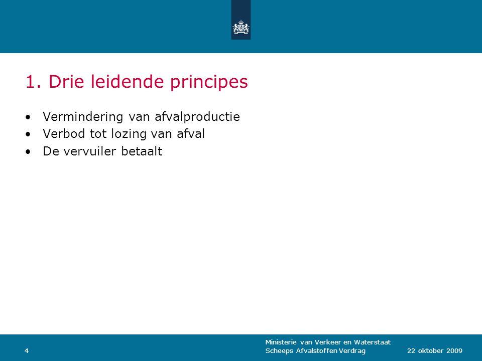 Ministerie van Verkeer en Waterstaat Scheeps Afvalstoffen Verdrag422 oktober 2009 1. Drie leidende principes Vermindering van afvalproductie Verbod to