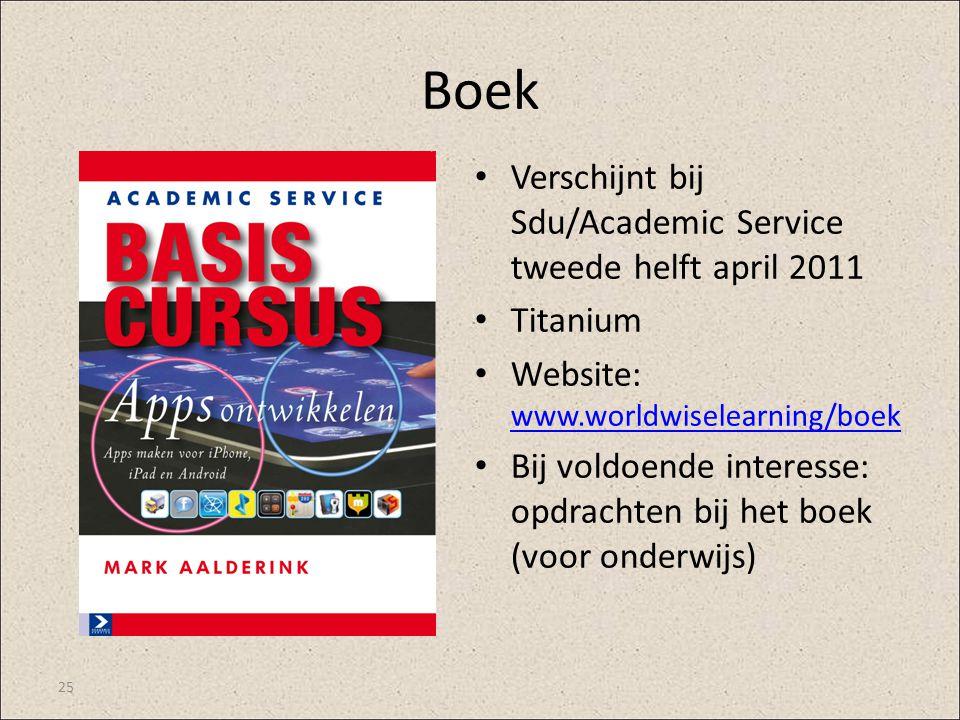 Boek Verschijnt bij Sdu/Academic Service tweede helft april 2011 Titanium Website: www.worldwiselearning/boek www.worldwiselearning/boek Bij voldoende