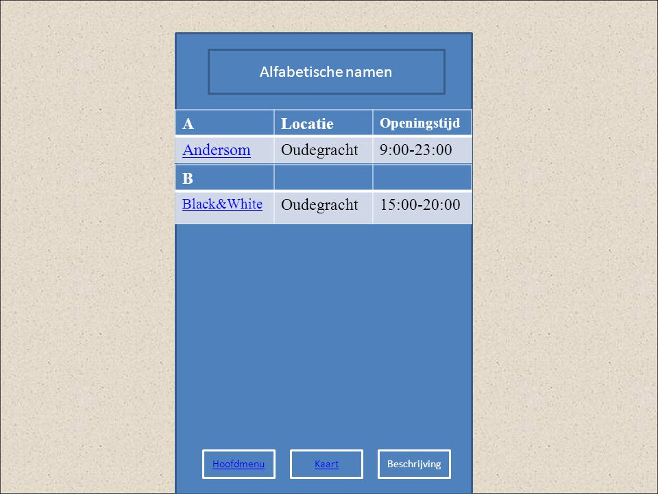 Alfabetische namen ALocatie Openingstijd AndersomOudegracht9:00-23:00 B Black&White Oudegracht15:00-20:00 HoofdmenuKaartBeschrijving