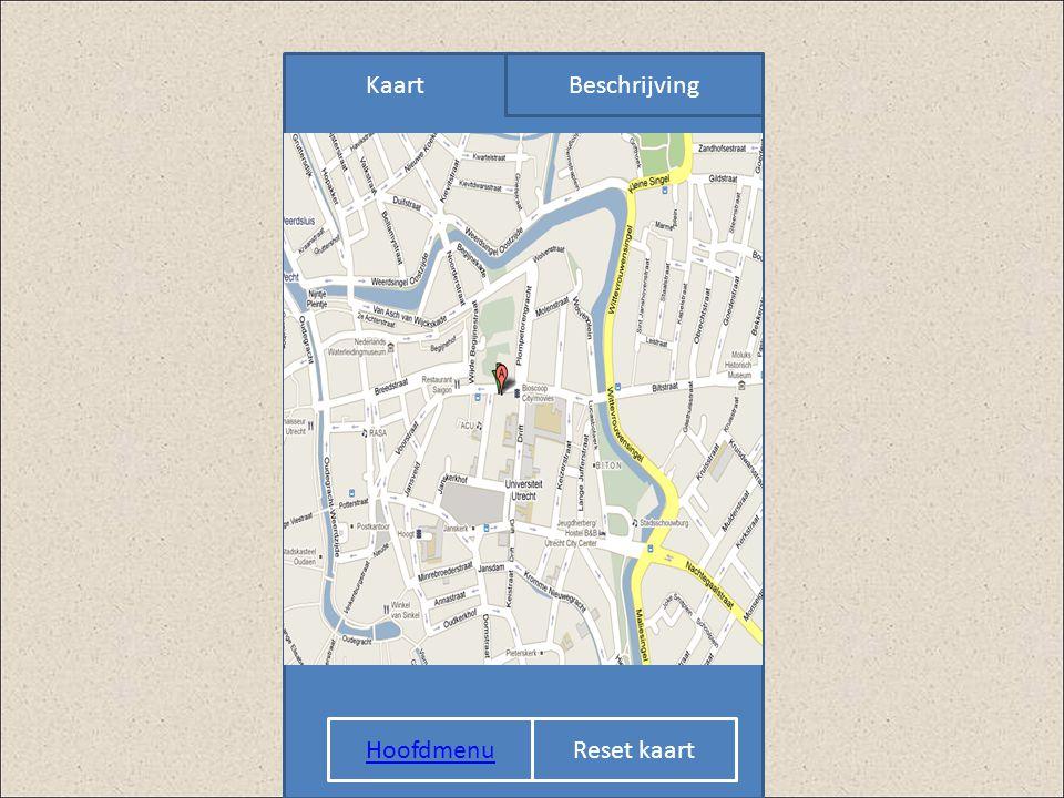 Hoofdmenu KaartBeschrijving KAART Reset kaart