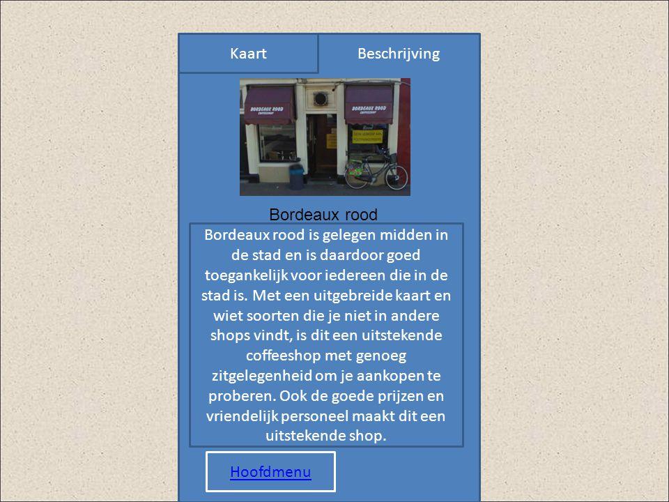 KaartBeschrijving Plaatje Bordeaux rood is gelegen midden in de stad en is daardoor goed toegankelijk voor iedereen die in de stad is. Met een uitgebr