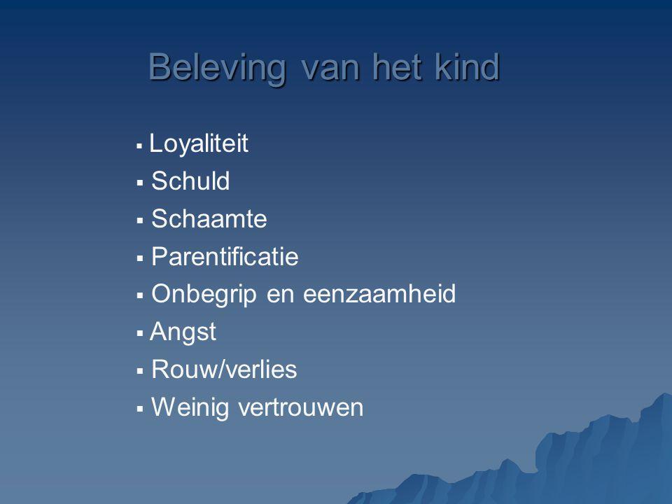 Beleving van het kind  Loyaliteit  Schuld  Schaamte  Parentificatie  Onbegrip en eenzaamheid  Angst  Rouw/verlies  Weinig vertrouwen