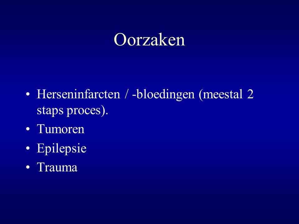 Oorzaken Herseninfarcten / -bloedingen (meestal 2 staps proces). Tumoren Epilepsie Trauma