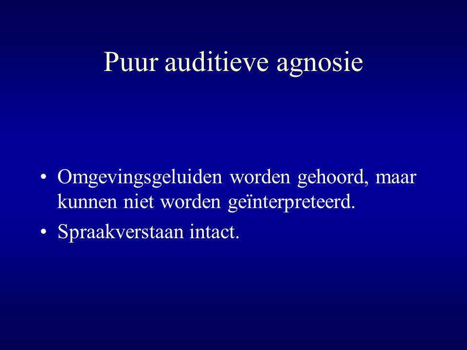 Puur auditieve agnosie Omgevingsgeluiden worden gehoord, maar kunnen niet worden geïnterpreteerd. Spraakverstaan intact.