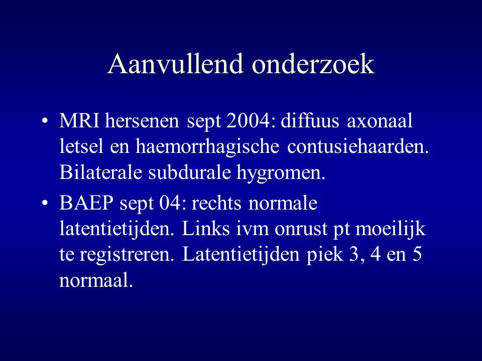 Aanvullend onderzoek MRI hersenen sept 2004: diffuus axonaal letsel en haemorrhagische contusiehaarden. Bilaterale subdurale hygromen. BAEP sept 04: r