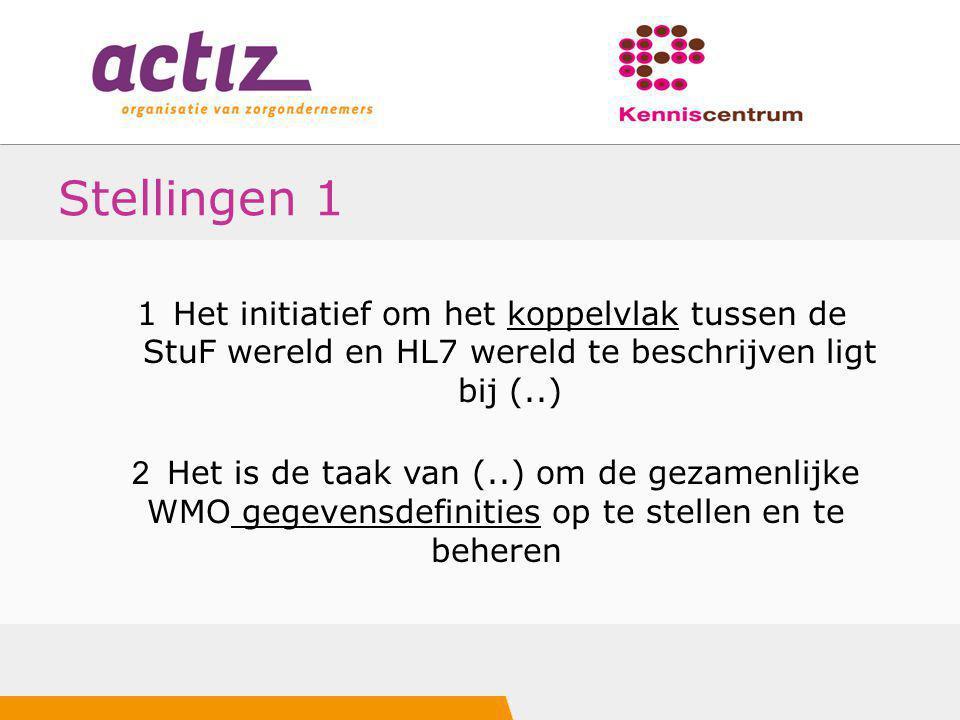 Stellingen 1 1Het initiatief om het koppelvlak tussen de StuF wereld en HL7 wereld te beschrijven ligt bij (..) 2 Het is de taak van (..) om de gezame