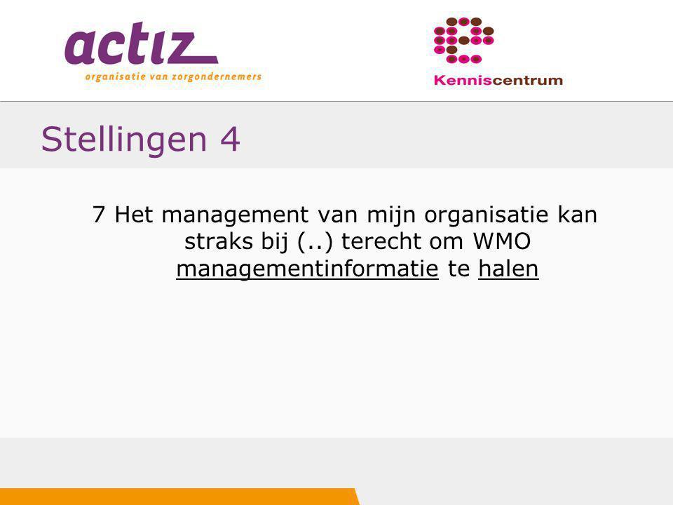 Stellingen 4 7 Het management van mijn organisatie kan straks bij (..) terecht om WMO managementinformatie te halen