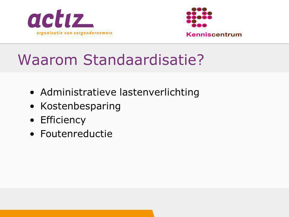Waarom Standaardisatie? Administratieve lastenverlichting Kostenbesparing Efficiency Foutenreductie