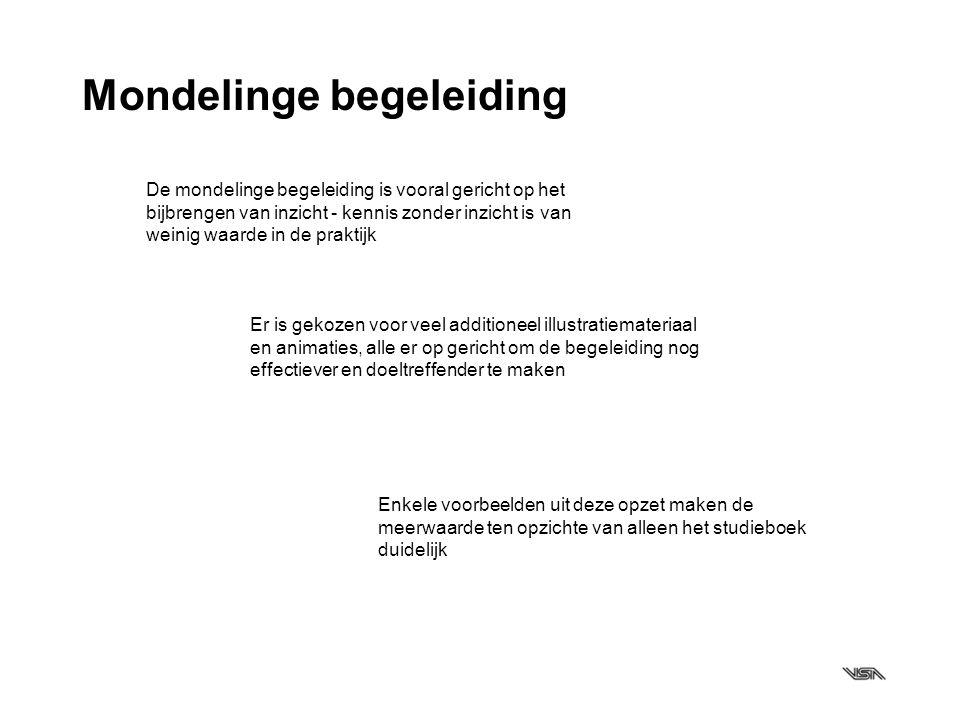 Mondelinge begeleiding De mondelinge begeleiding is vooral gericht op het bijbrengen van inzicht - kennis zonder inzicht is van weinig waarde in de pr