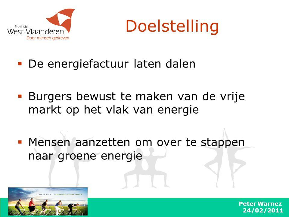 Peter Warnez 24/02/2011 Doelstelling  De energiefactuur laten dalen  Burgers bewust te maken van de vrije markt op het vlak van energie  Mensen aanzetten om over te stappen naar groene energie