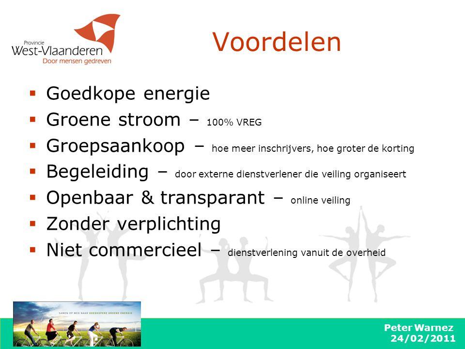Peter Warnez 24/02/2011  Goedkope energie  Groene stroom – 100% VREG  Groepsaankoop – hoe meer inschrijvers, hoe groter de korting  Begeleiding –