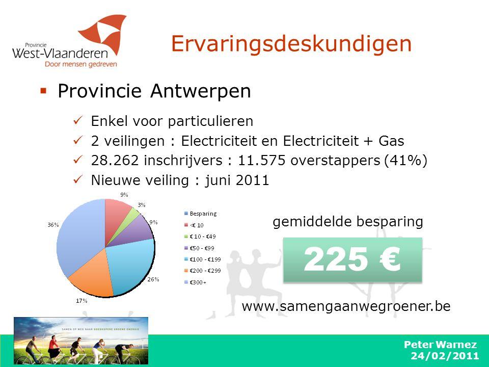 Peter Warnez 24/02/2011 Ervaringsdeskundigen  Provincie Antwerpen 225 € gemiddelde besparing Enkel voor particulieren 2 veilingen : Electriciteit en Electriciteit + Gas 28.262 inschrijvers : 11.575 overstappers (41%) Nieuwe veiling : juni 2011 www.samengaanwegroener.be