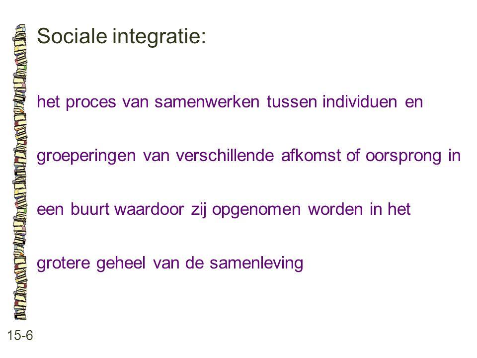 Sociale integratie: 15-6 het proces van samenwerken tussen individuen en groeperingen van verschillende afkomst of oorsprong in een buurt waardoor zij opgenomen worden in het grotere geheel van de samenleving