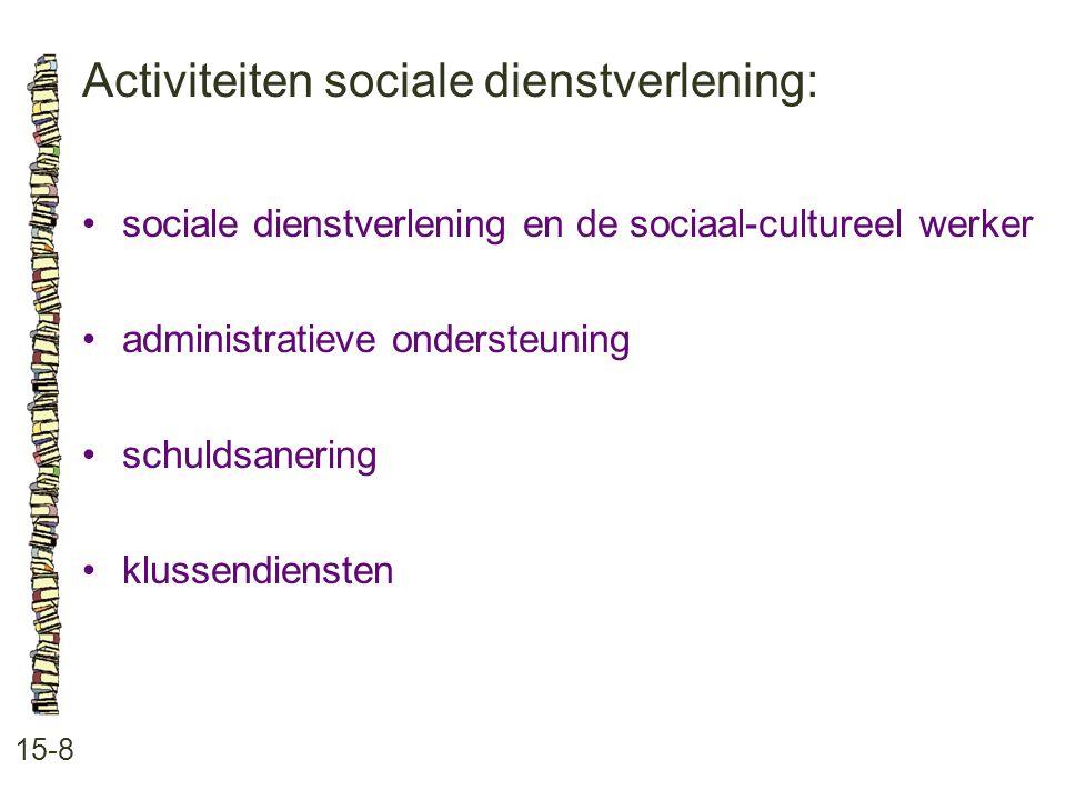Activiteiten sociale dienstverlening: 15-8 sociale dienstverlening en de sociaal-cultureel werker administratieve ondersteuning schuldsanering klussen