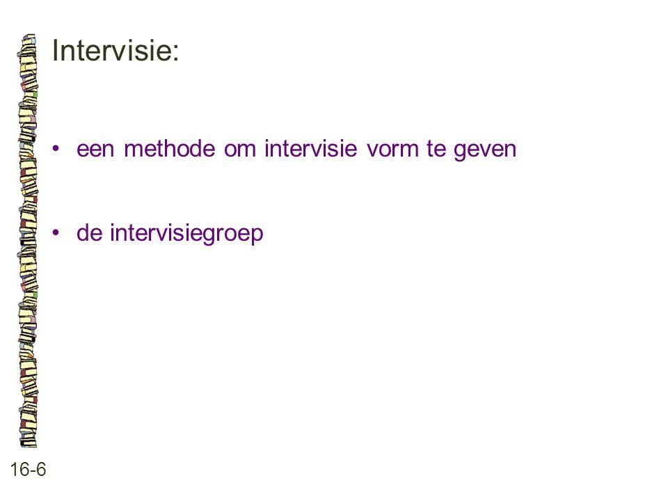Intervisie: 16-6 een methode om intervisie vorm te geven de intervisiegroep