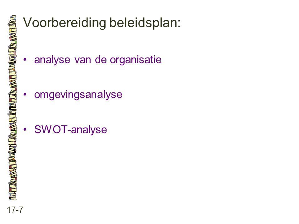 Voorbereiding beleidsplan: 17-7 analyse van de organisatie omgevingsanalyse SWOT-analyse