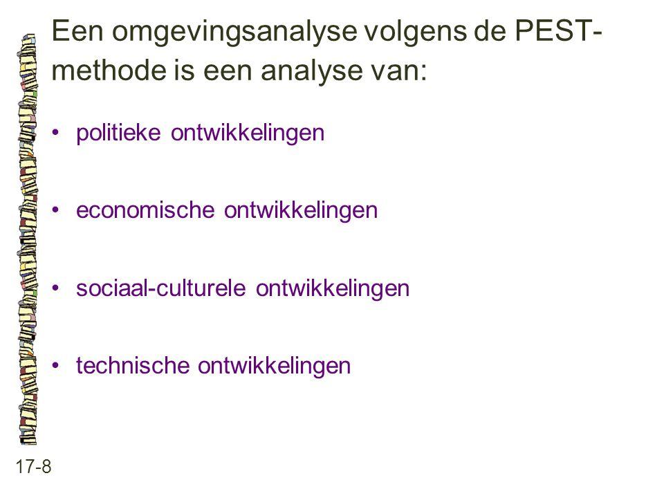 Een omgevingsanalyse volgens de PEST- methode is een analyse van: 17-8 politieke ontwikkelingen economische ontwikkelingen sociaal-culturele ontwikkelingen technische ontwikkelingen