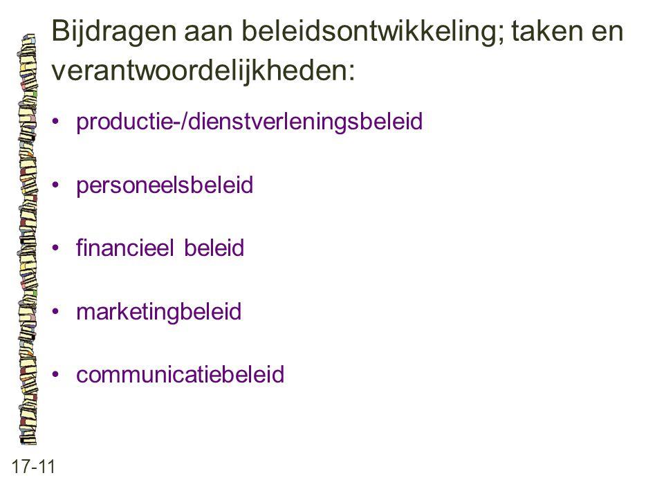 Bijdragen aan beleidsontwikkeling; taken en verantwoordelijkheden: 17-11 productie-/dienstverleningsbeleid personeelsbeleid financieel beleid marketingbeleid communicatiebeleid