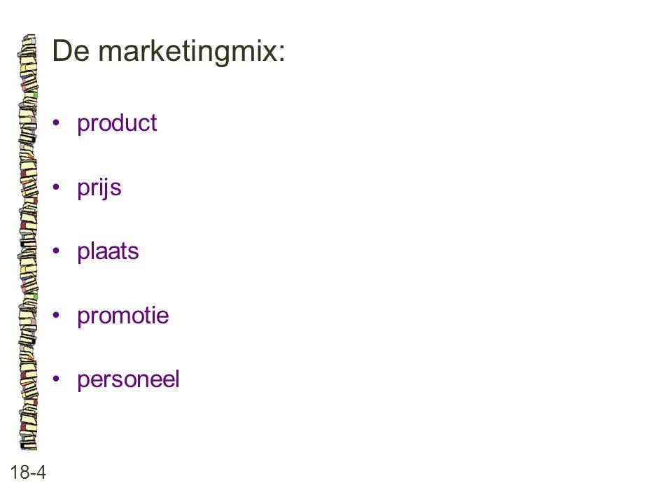 De marketingmix: 18-4 product prijs plaats promotie personeel
