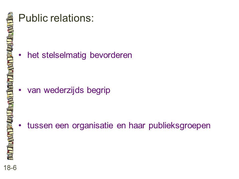 Public relations: 18-6 het stelselmatig bevorderen van wederzijds begrip tussen een organisatie en haar publieksgroepen
