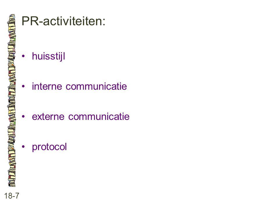 PR-activiteiten: 18-7 huisstijl interne communicatie externe communicatie protocol