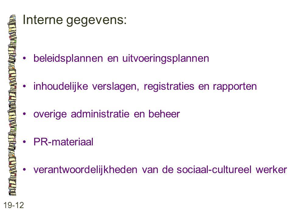 Interne gegevens: 19-12 beleidsplannen en uitvoeringsplannen inhoudelijke verslagen, registraties en rapporten overige administratie en beheer PR-materiaal verantwoordelijkheden van de sociaal-cultureel werker