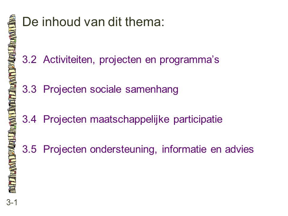 De inhoud van dit thema: 3-1 3.2Activiteiten, projecten en programma's 3.3 Projecten sociale samenhang 3.4 Projecten maatschappelijke participatie 3.5 Projecten ondersteuning, informatie en advies