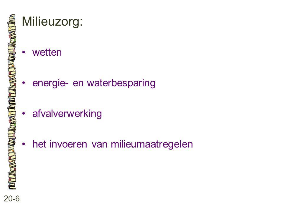 Milieuzorg: 20-6 wetten energie- en waterbesparing afvalverwerking het invoeren van milieumaatregelen