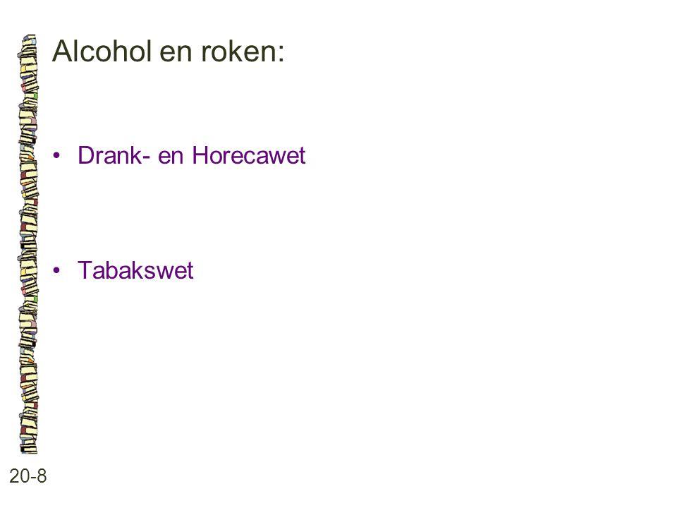 Alcohol en roken: 20-8 Drank- en Horecawet Tabakswet