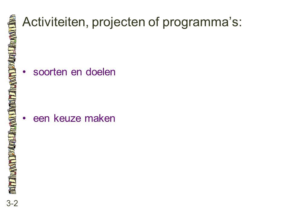 Activiteiten, projecten of programma's: 3-2 soorten en doelen een keuze maken