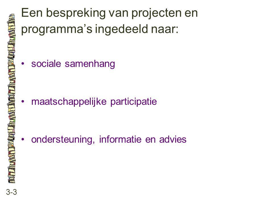 Een bespreking van projecten en programma's ingedeeld naar: 3-3 sociale samenhang maatschappelijke participatie ondersteuning, informatie en advies
