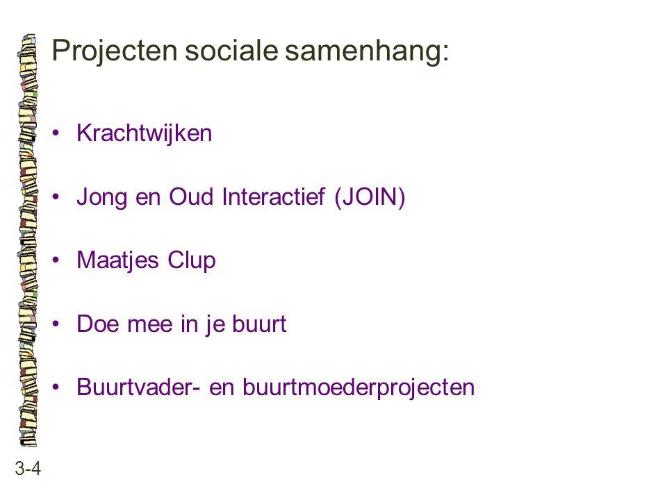 Projecten sociale samenhang: 3-4 Krachtwijken Jong en Oud Interactief (JOIN) Maatjes Clup Doe mee in je buurt Buurtvader- en buurtmoederprojecten