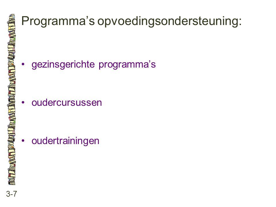 Programma's opvoedingsondersteuning: 3-7 gezinsgerichte programma's oudercursussen oudertrainingen