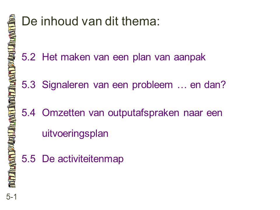 De inhoud van dit thema: 5-1 5.2Het maken van een plan van aanpak 5.3 Signaleren van een probleem … en dan? 5.4 Omzetten van outputafspraken naar een