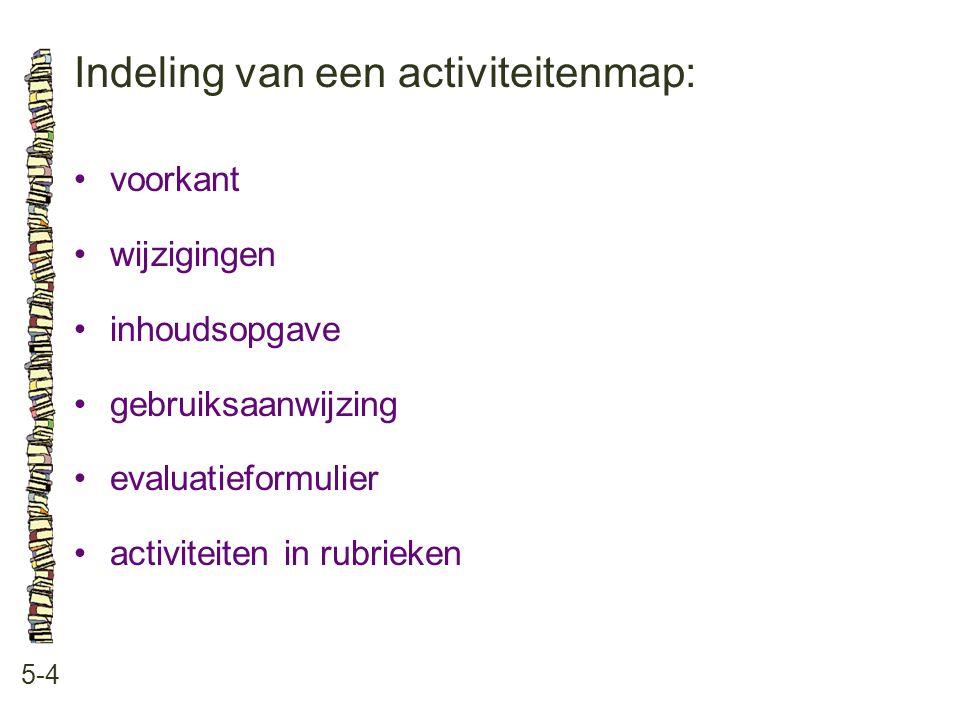 Indeling van een activiteitenmap: 5-4 voorkant wijzigingen inhoudsopgave gebruiksaanwijzing evaluatieformulier activiteiten in rubrieken