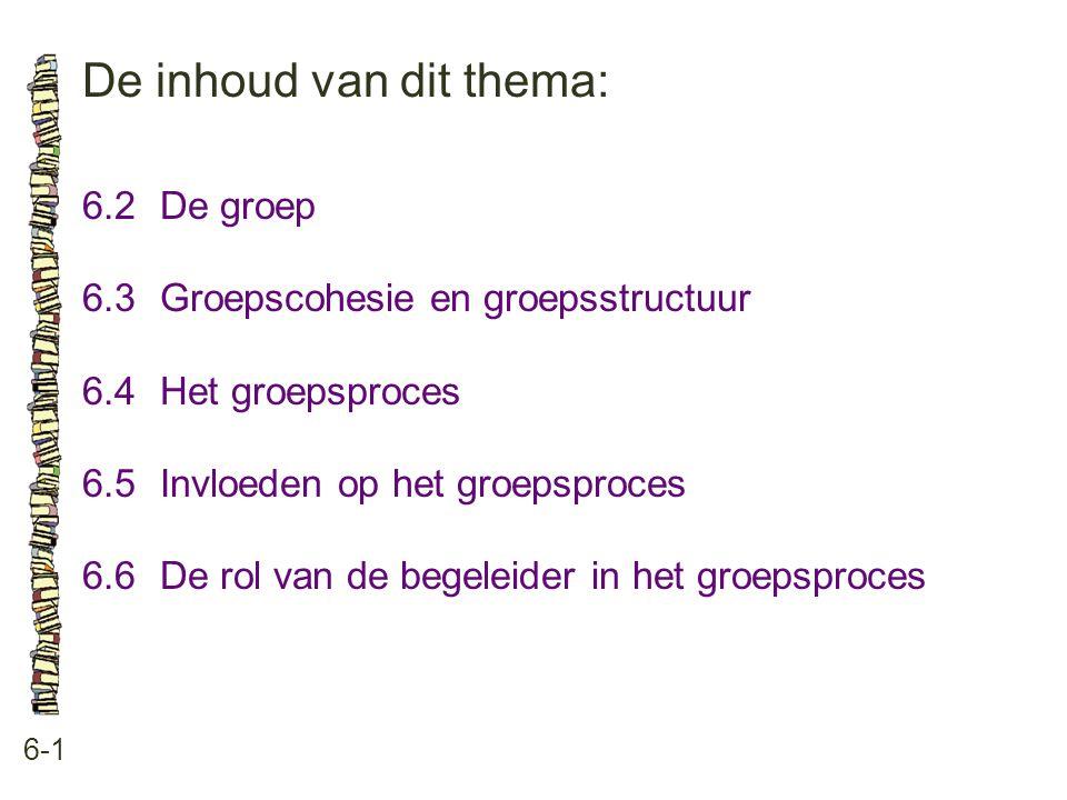 De inhoud van dit thema: 6-1 6.2De groep 6.3 Groepscohesie en groepsstructuur 6.4 Het groepsproces 6.5 Invloeden op het groepsproces 6.6 De rol van de begeleider in het groepsproces