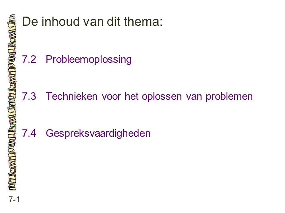 De inhoud van dit thema: 7-1 7.2Probleemoplossing 7.3 Technieken voor het oplossen van problemen 7.4 Gespreksvaardigheden