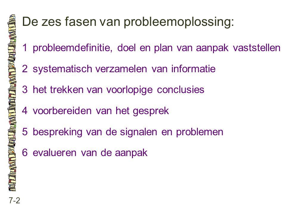 De zes fasen van probleemoplossing: 7-2 1probleemdefinitie, doel en plan van aanpak vaststellen 2systematisch verzamelen van informatie 3het trekken v