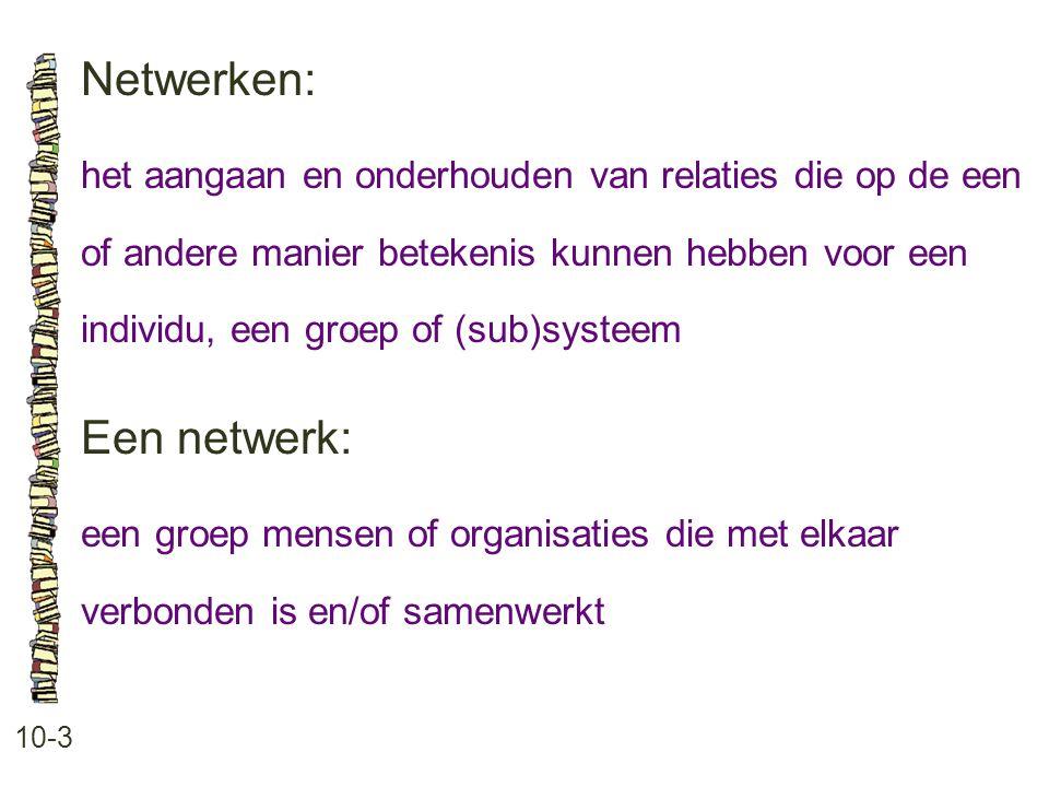Netwerken: 10-3 het aangaan en onderhouden van relaties die op de een of andere manier betekenis kunnen hebben voor een individu, een groep of (sub)systeem Een netwerk: een groep mensen of organisaties die met elkaar verbonden is en/of samenwerkt