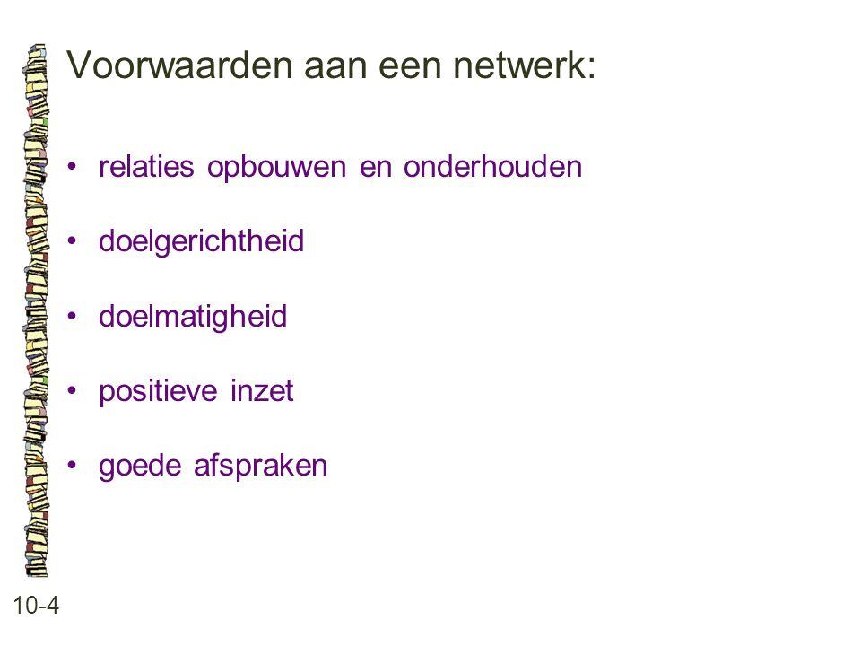Voorwaarden aan een netwerk: 10-4 relaties opbouwen en onderhouden doelgerichtheid doelmatigheid positieve inzet goede afspraken
