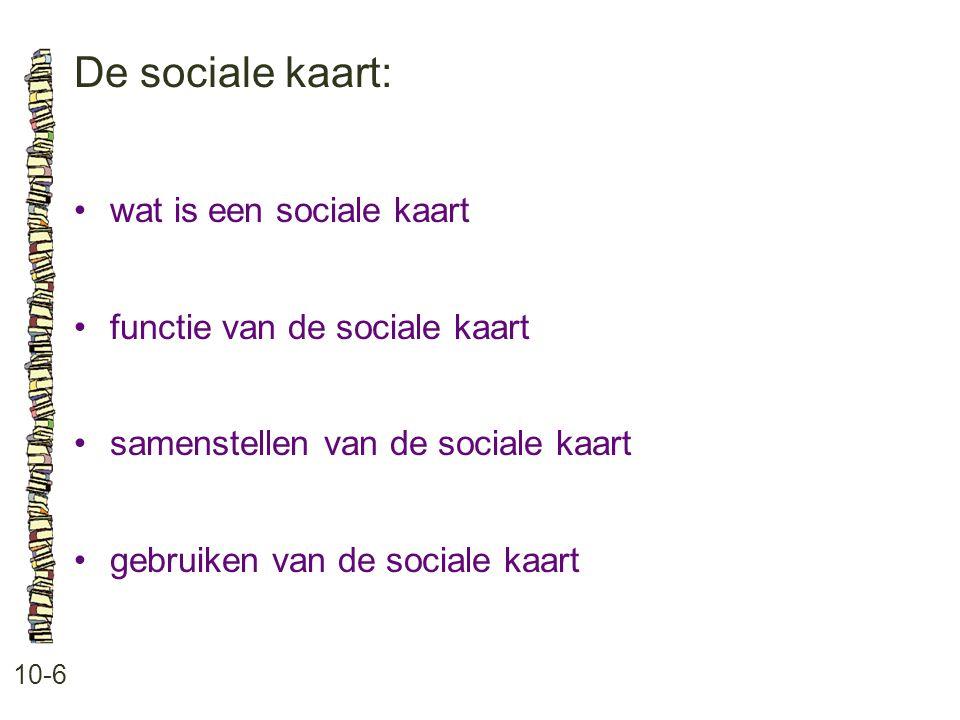 De sociale kaart: 10-6 wat is een sociale kaart functie van de sociale kaart samenstellen van de sociale kaart gebruiken van de sociale kaart
